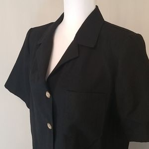 Vintage black linen button down